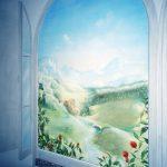 Fausse fenêtre en trompe l'œil, paysage en perspective